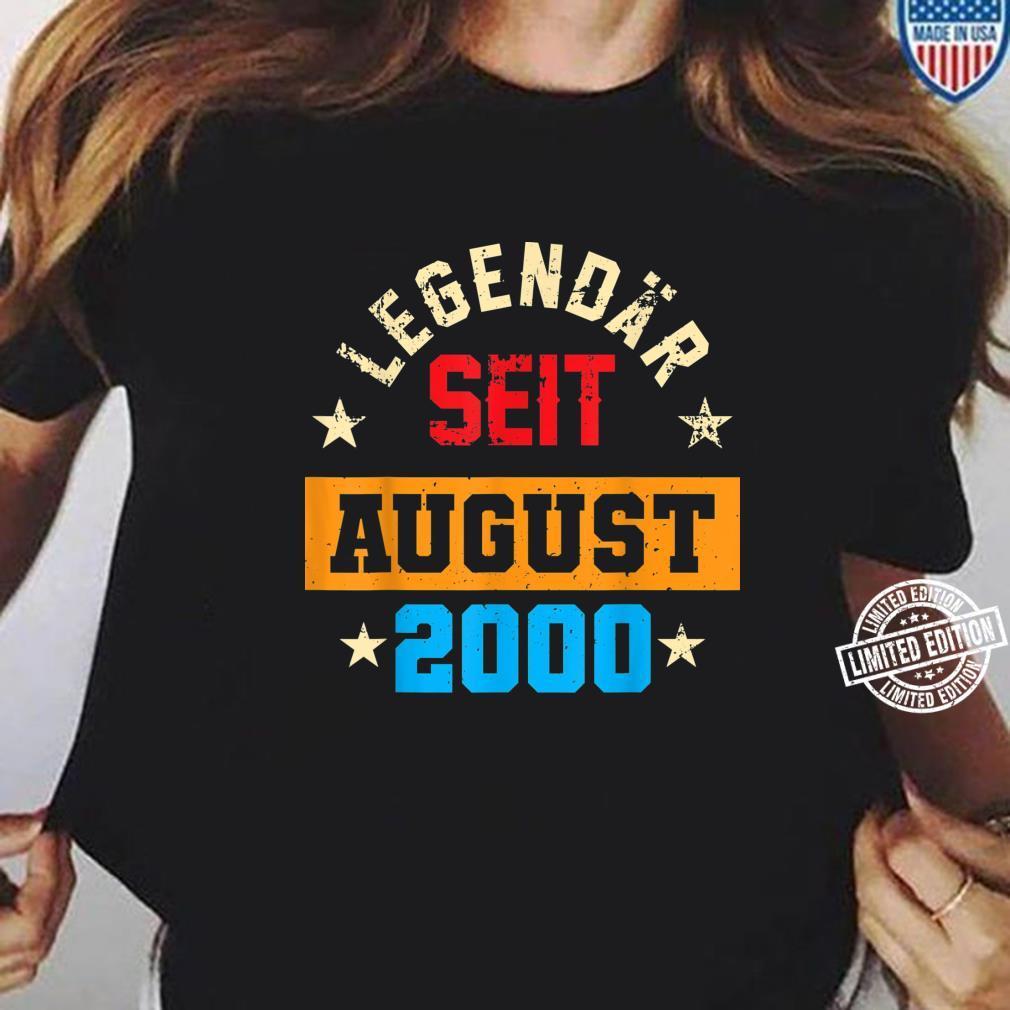 20. Geburtstag Vintage Legendär Seit August 2000 Shirt ladies tee