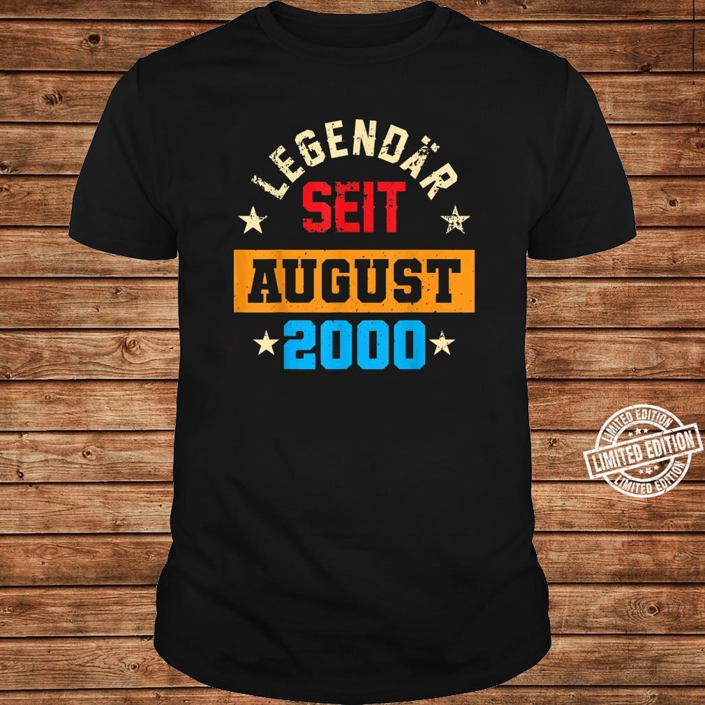 20. Geburtstag Vintage Legendär Seit August 2000 Shirt long sleeved