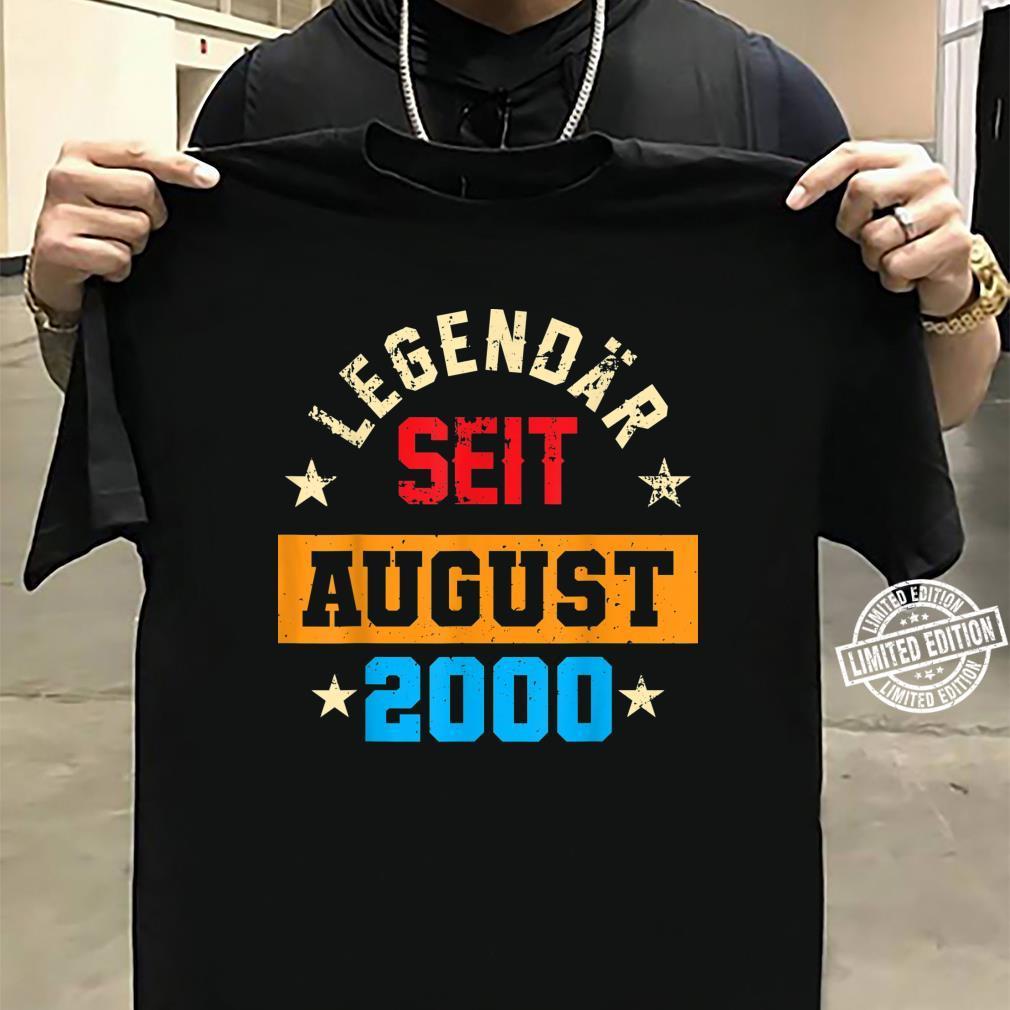 20. Geburtstag Vintage Legendär Seit August 2000 Shirt sweater