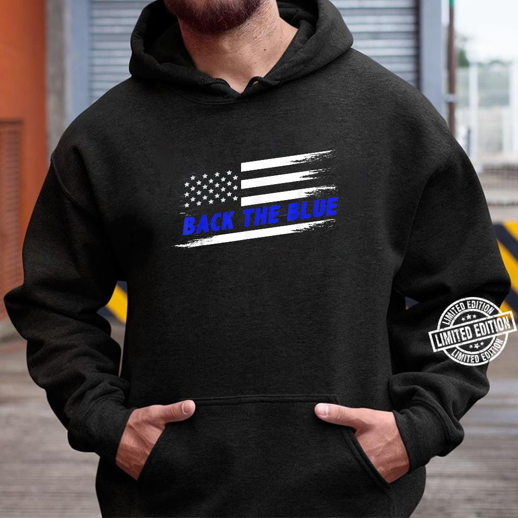 Back the Blue Thin Blue Line American Flag Police Support Langarmshirt
