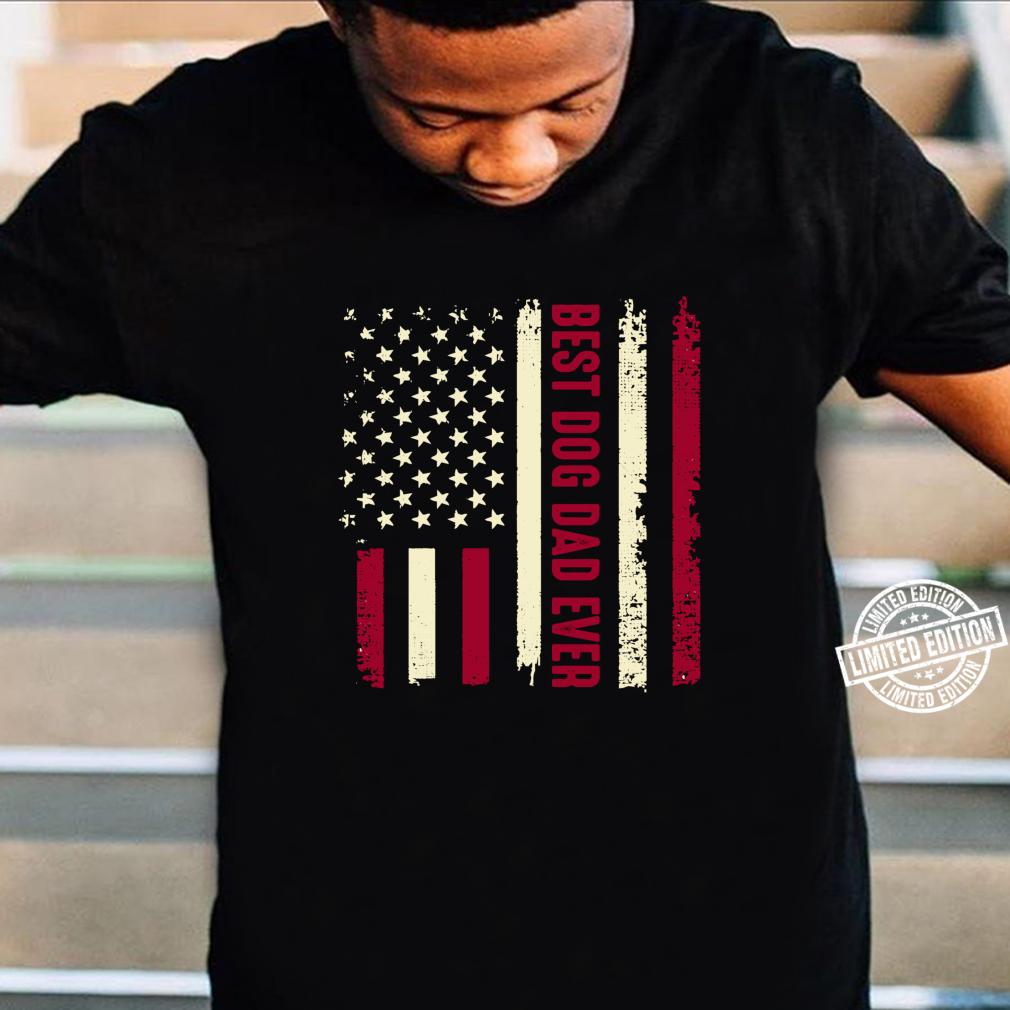 Best Dog Dad Ever Amerikanische Flagge Hund Tier Liebhaber Langarmshirt Shirt