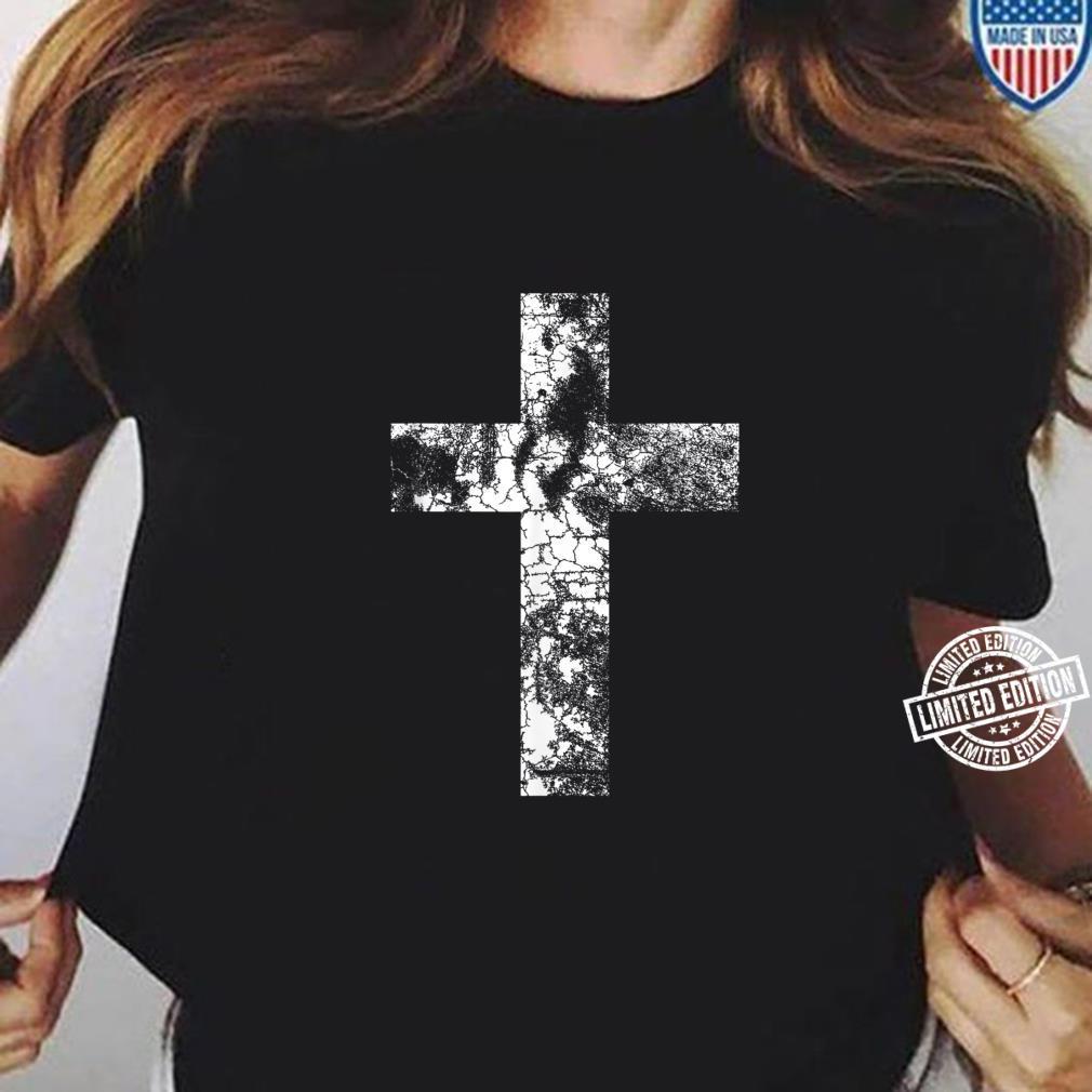 Distressed Cross Religious Jesus Christian Faith Pastor Shirt ladies tee
