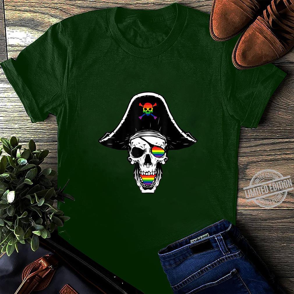 Gay Pirate Skull Crosbones Pride Flag LGBTQ Cool LGBT Shirt long sleeved