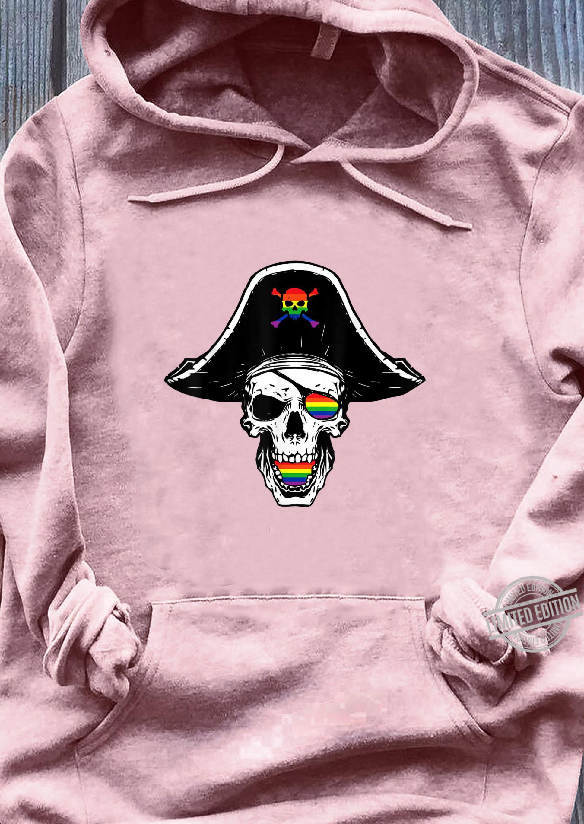 Gay Pirate Skull Crosbones Pride Flag LGBTQ Cool LGBT Shirt sweater