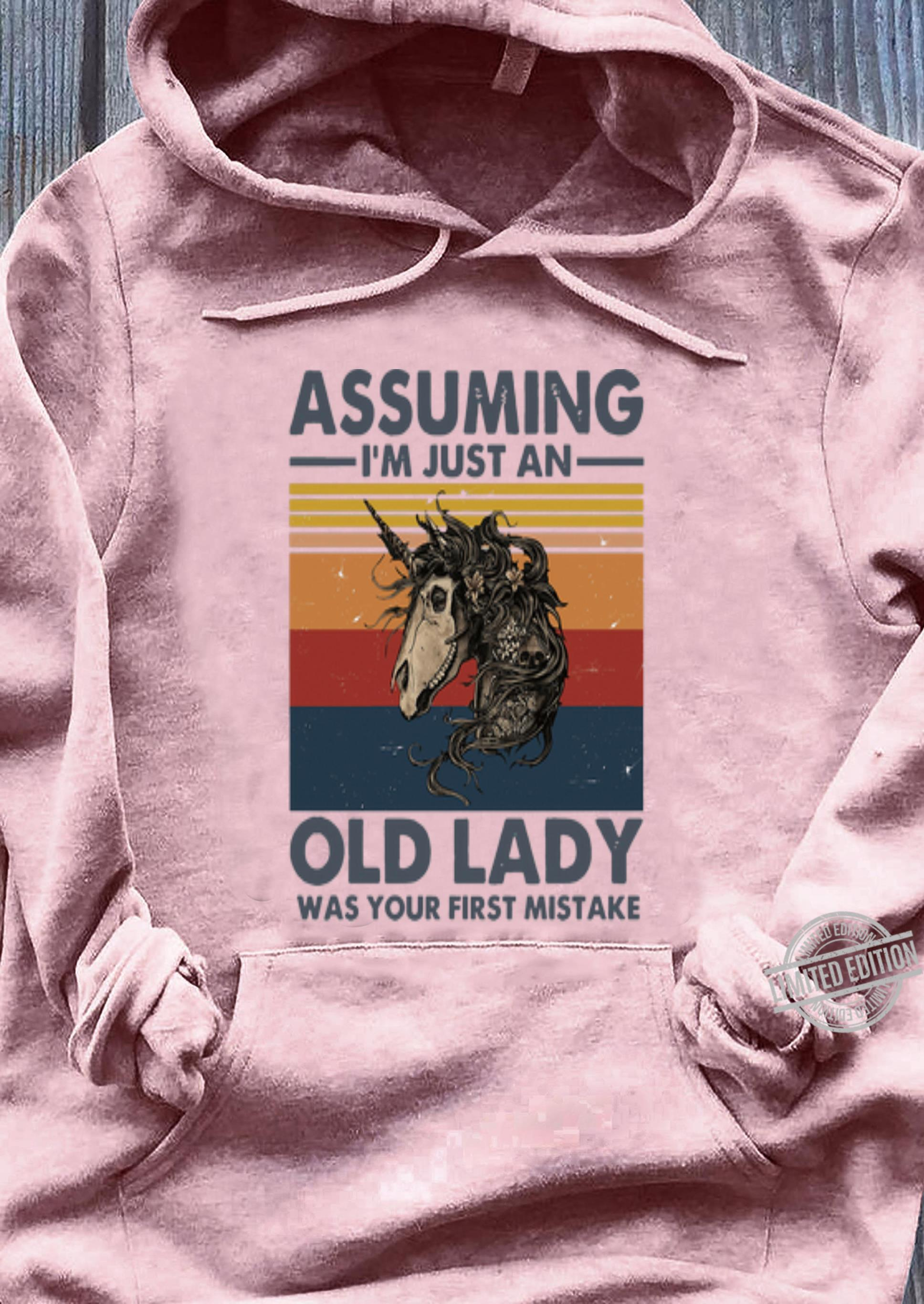 Original Vintage Skull Horse Assuming I'm Just An Old Lady Was Your First Mistake shirt, hoodie, sweater, longsleeve t-shirt ladies tee