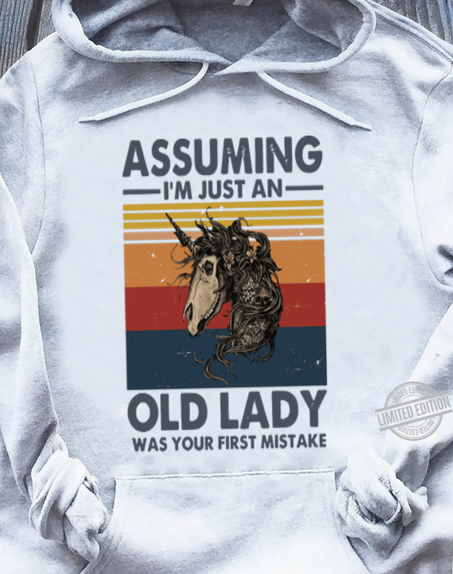 Original Vintage Skull Horse Assuming I'm Just An Old Lady Was Your First Mistake shirt, hoodie, sweater, longsleeve t-shirt sweater