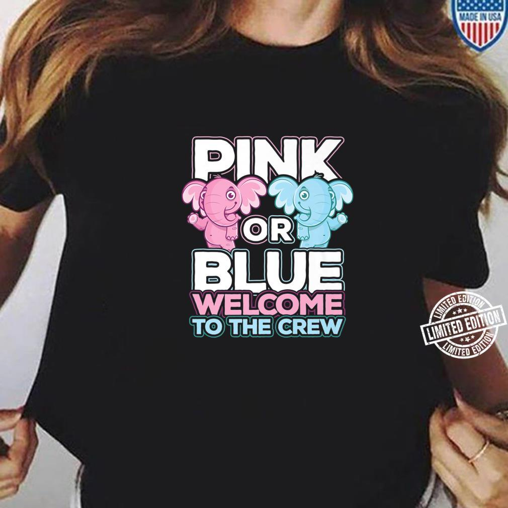 Pink or Blue Welcome To The Crew Cute Gender Reveal Party Shirt long sleeved