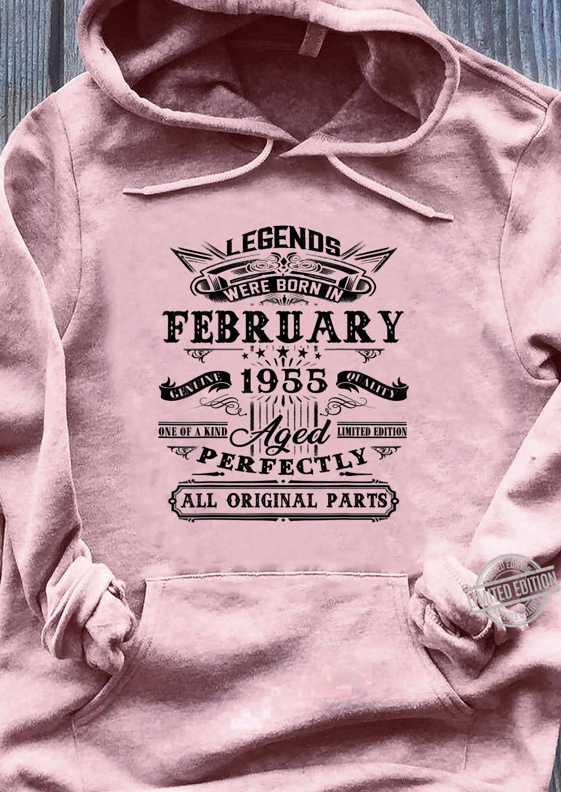 Vintage February 1955 65th Birthday For 65 Years Old Shirt ladies tee